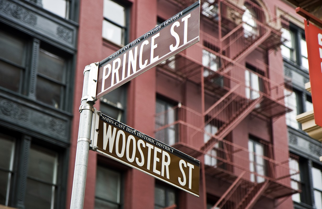 Prince street and Wooster street signs in New York