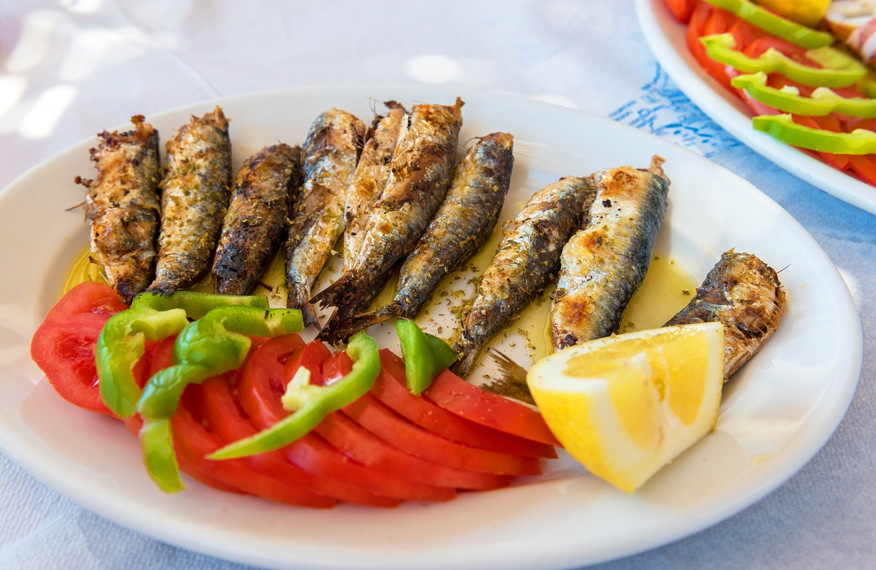 Seafood, grilled sardines