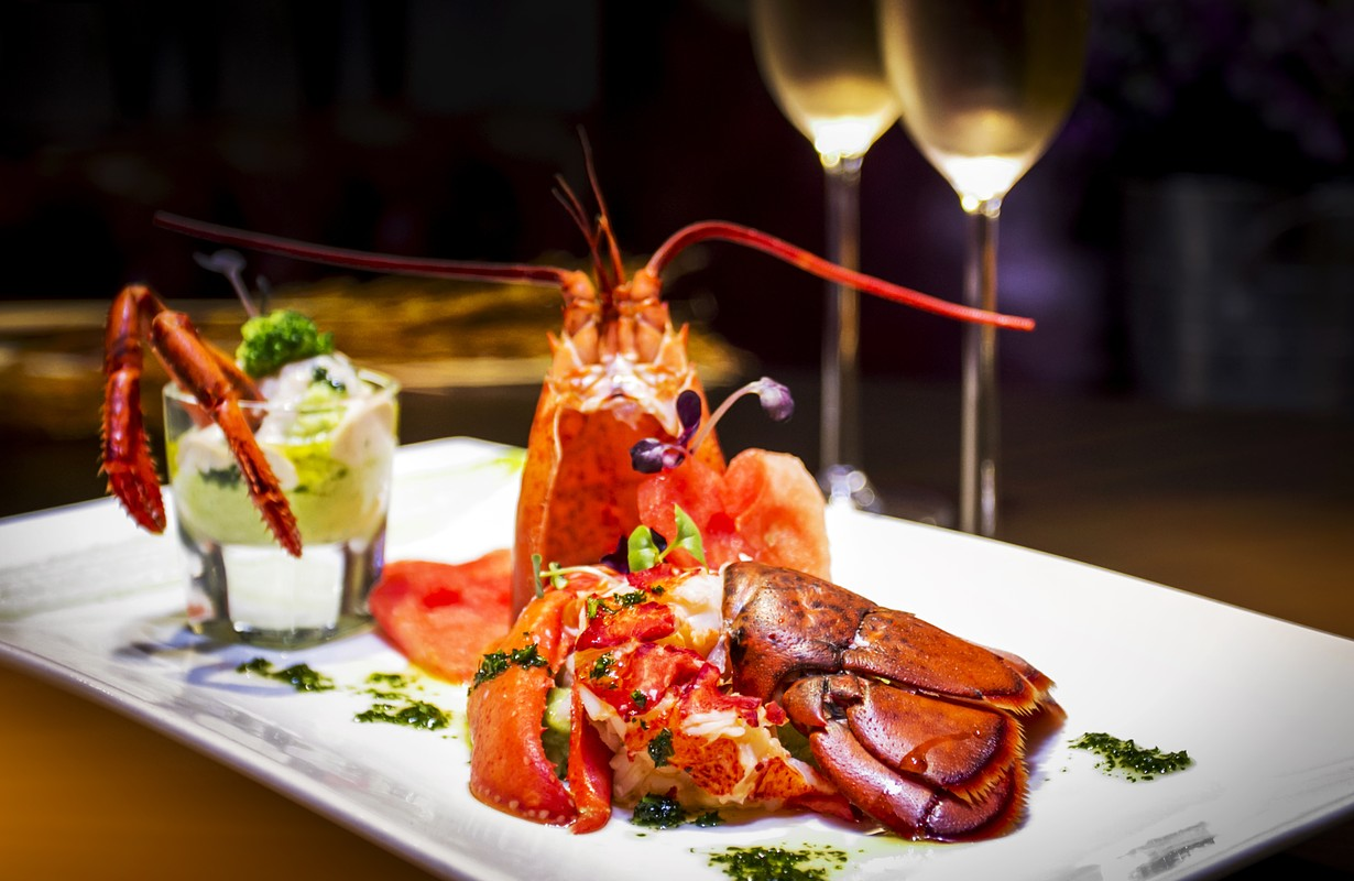 Lobster dish served with two glasses of wine - Atlanta, Georgia