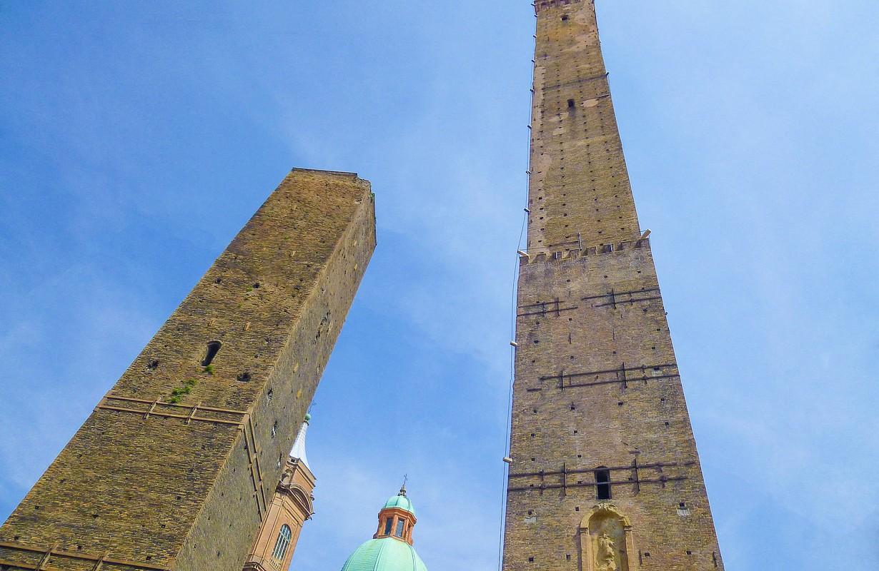 Torre Garisenda and Degli Asinelli Tower in Bologna Emilia Romagna Italy