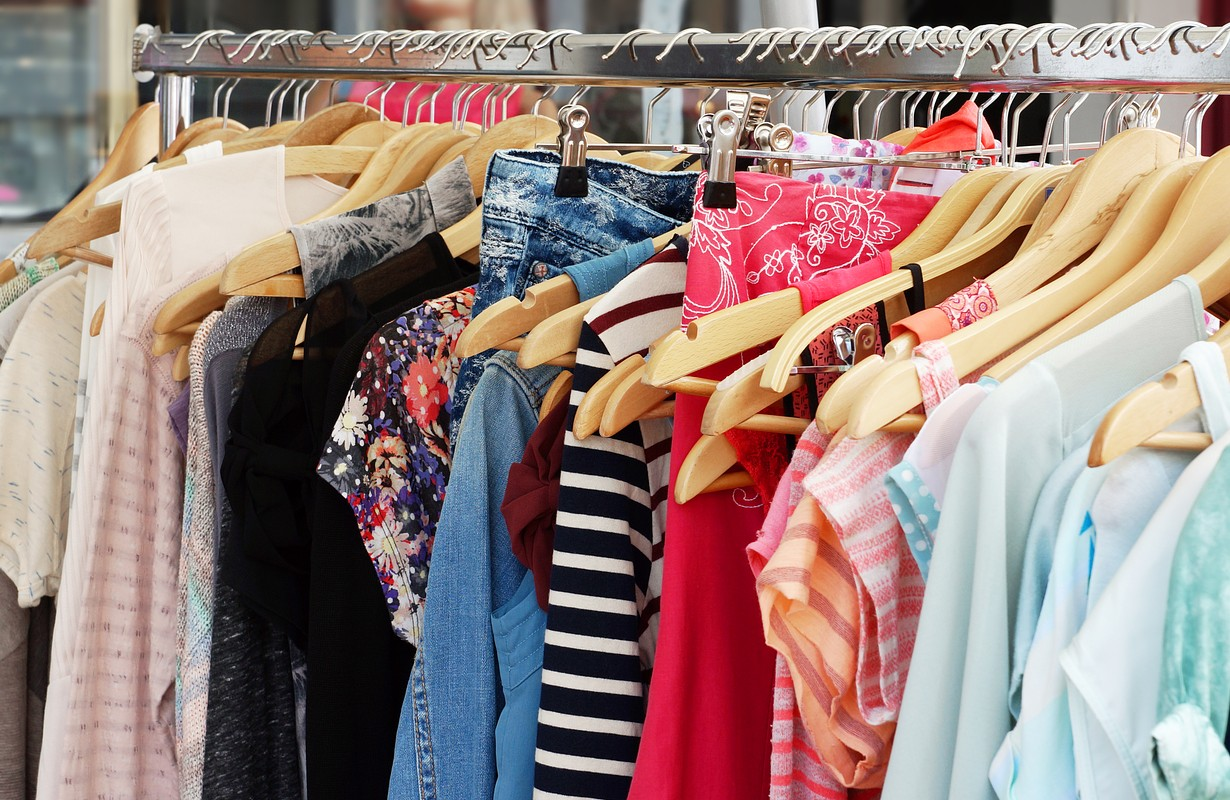 Clothes rack with a selection of ladies fashion - Houston, Texas
