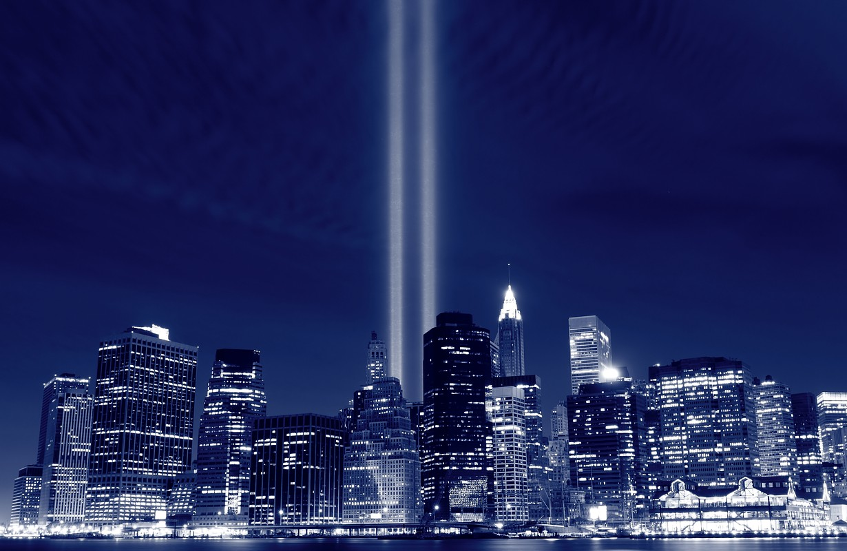 NYC Skyline with memorial beams of light