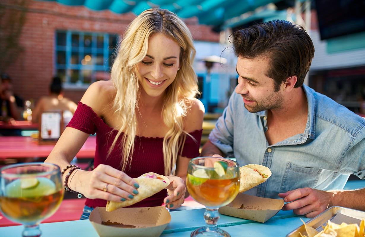 Couple eating tacos at a Mexican restaurant - Atlanta, Georgia