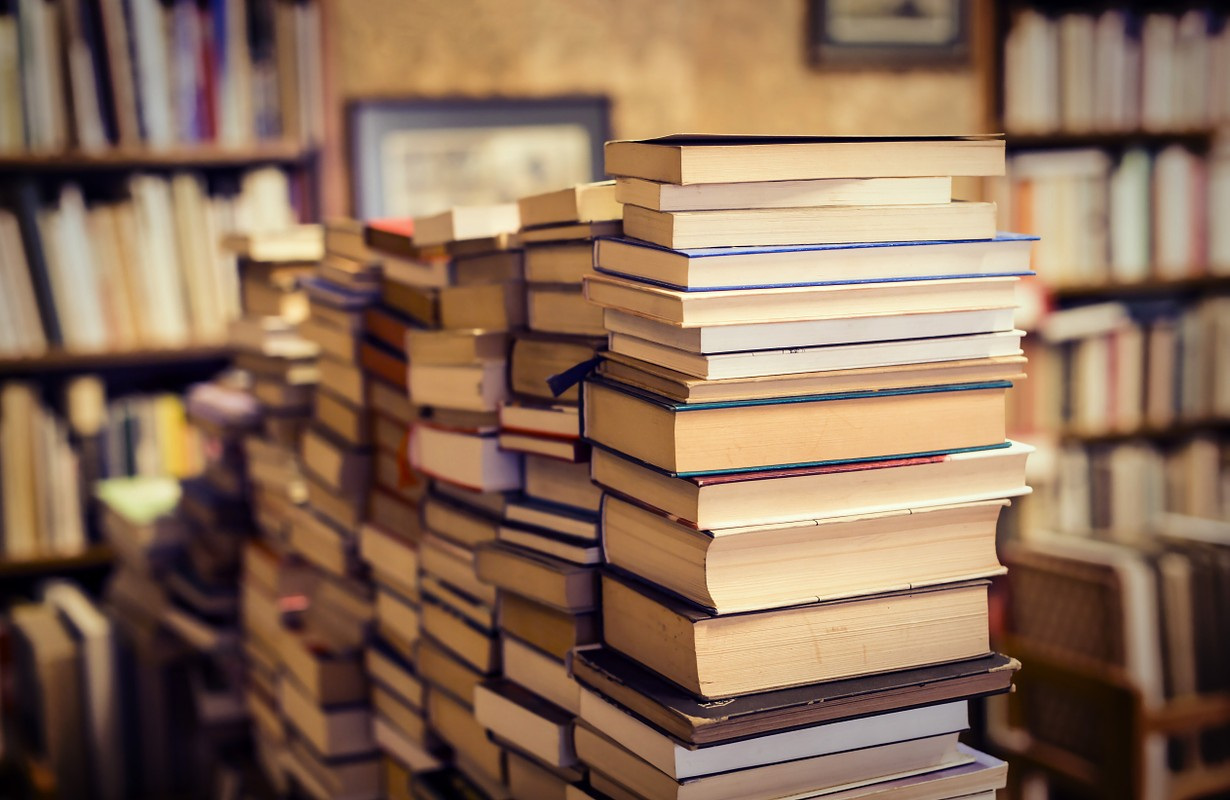 lot of used books in the ancient interior of a bookstore