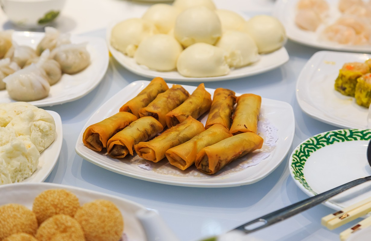 Chinese food, dim sum fried spring rolls