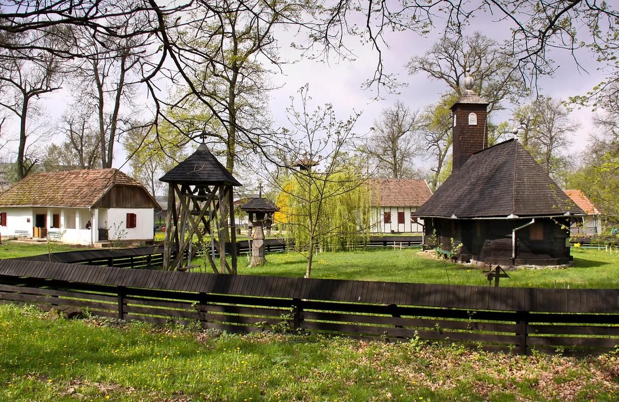 Topla, Timiş county, Romania. The wooden church transferred in the Banat Village Museum from Timişoara.