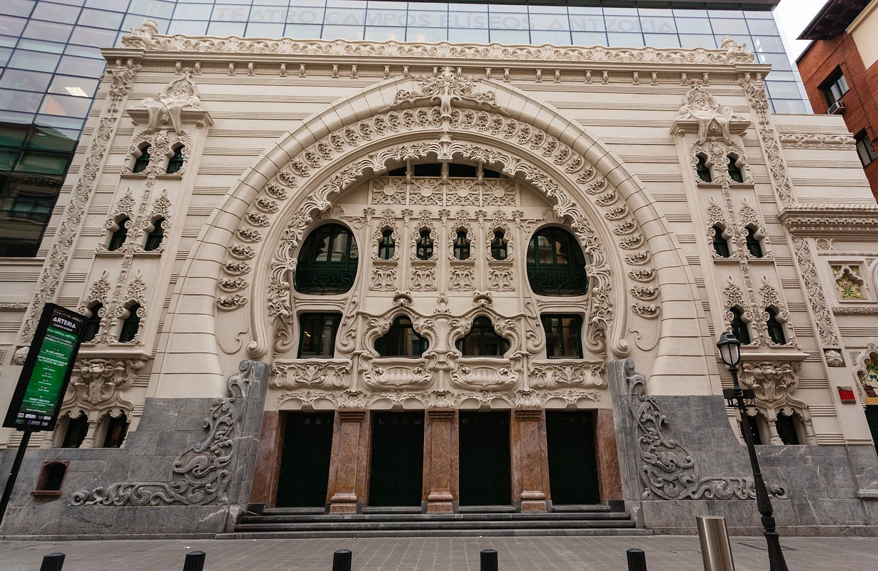 Beautiful main entrance modernist facade of Campos Eliseos Theathre in Bilbao Basque Country Spain