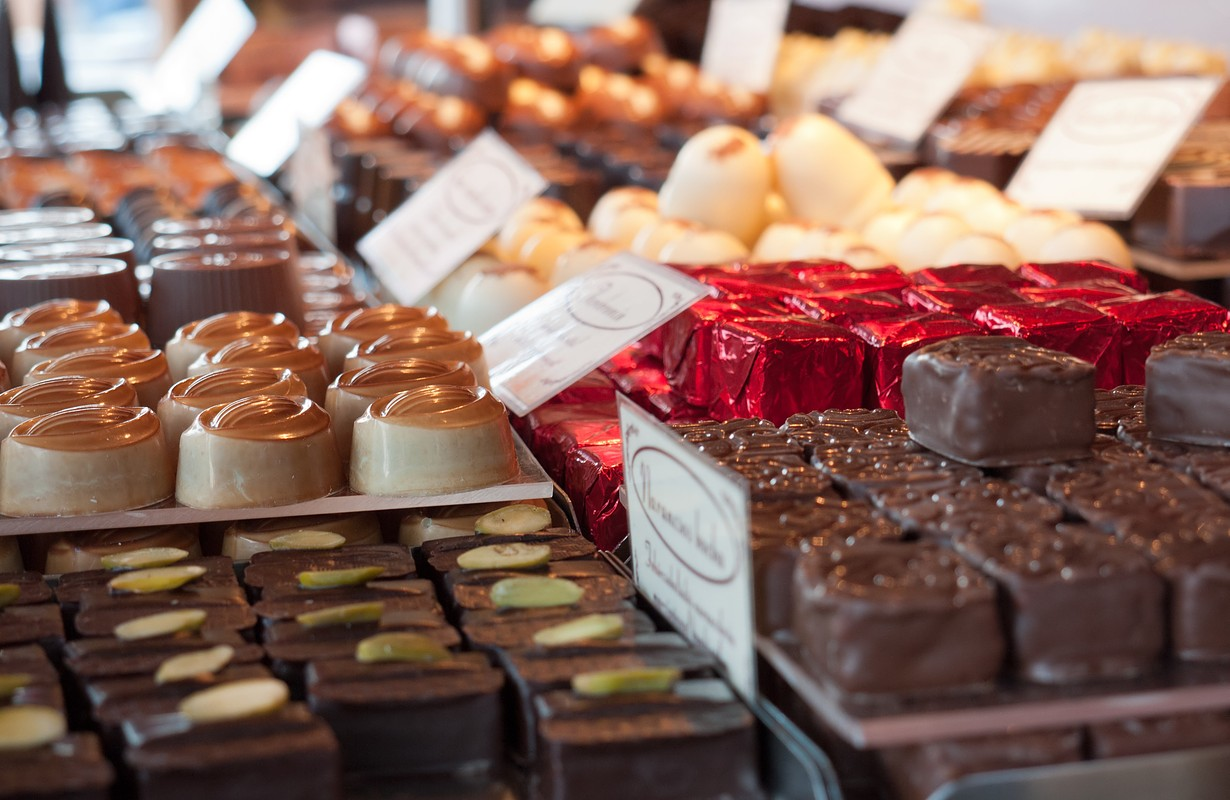 Different kinds of chocolate displayed