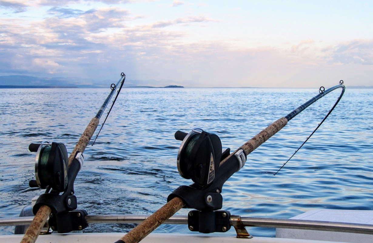Two fishing rods held in fishing rod holders, attached to a back of a boat.
