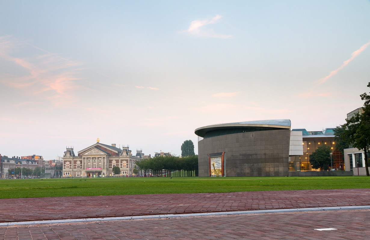 View towards the renewed Van Gogh museum on the museum square in Amsterdam, the Netherlands