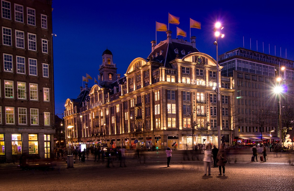 Beautiful Lighting Shopping Mall on Dam Square in Amsterdam at the Night