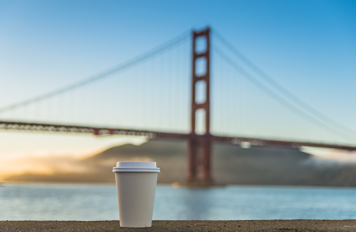 A cup of coffee by the Golden Gate Bridge - San Francisco, California
