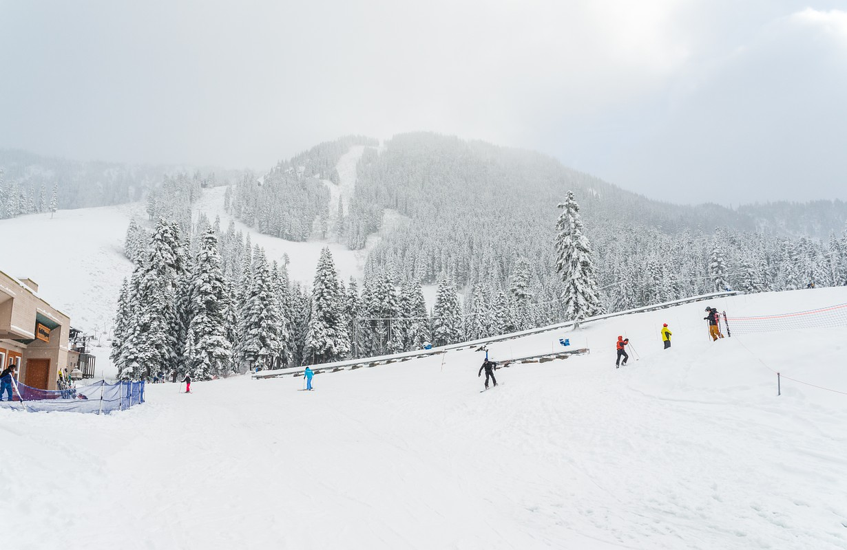 scenic view of small people play ski in snow mountain,Washington,USA.