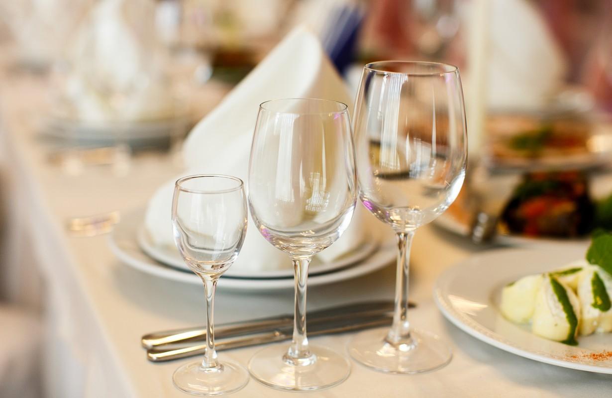 Wineglasses served for a festive dinner