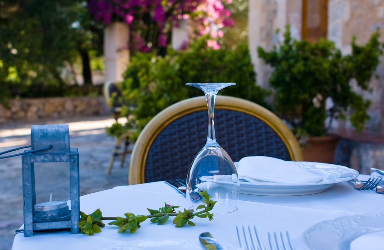 Fine place setting outside in gourmet restaurant