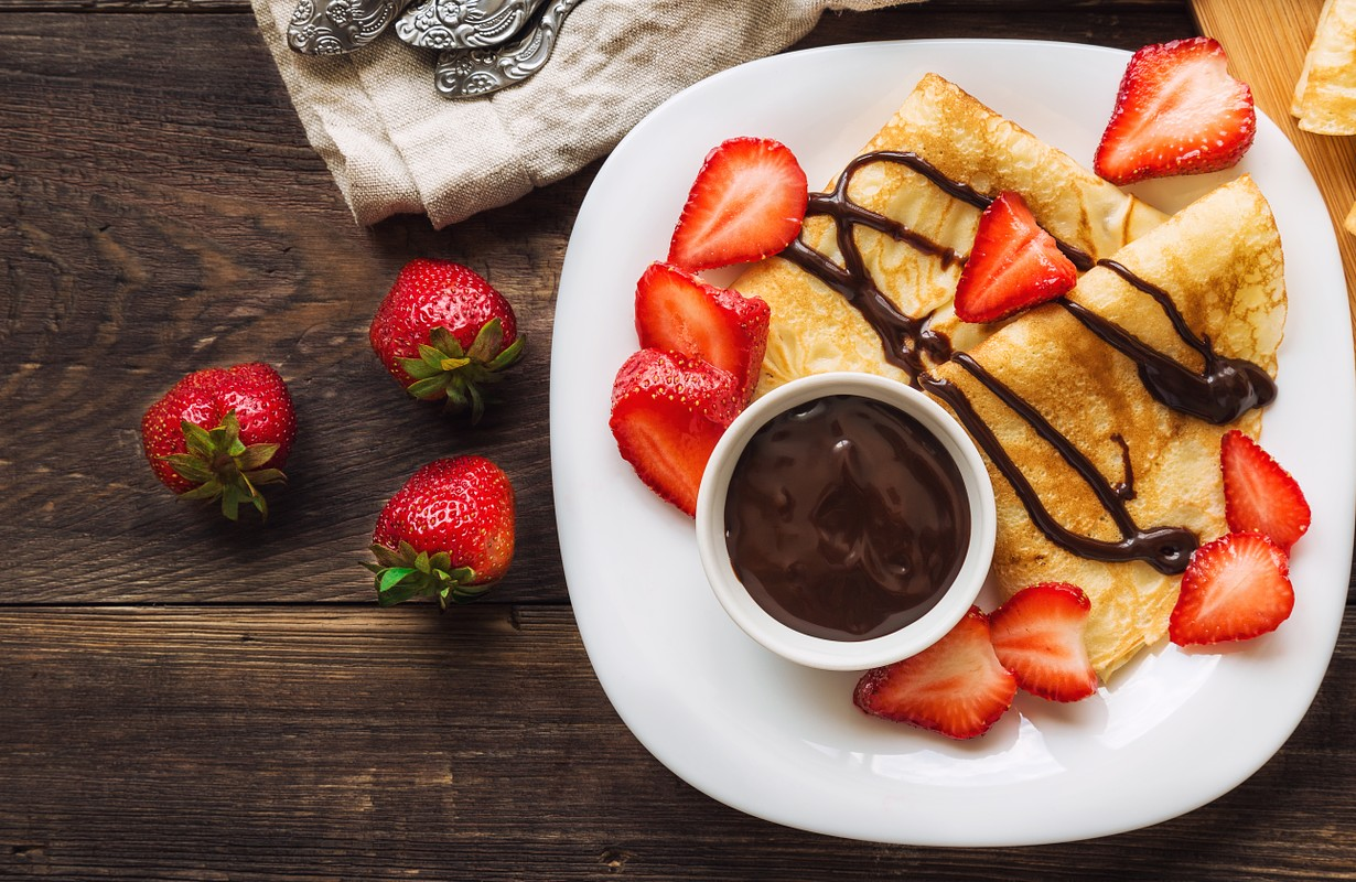 Fresh made crepes with strawberries and nutella - San Francisco, California