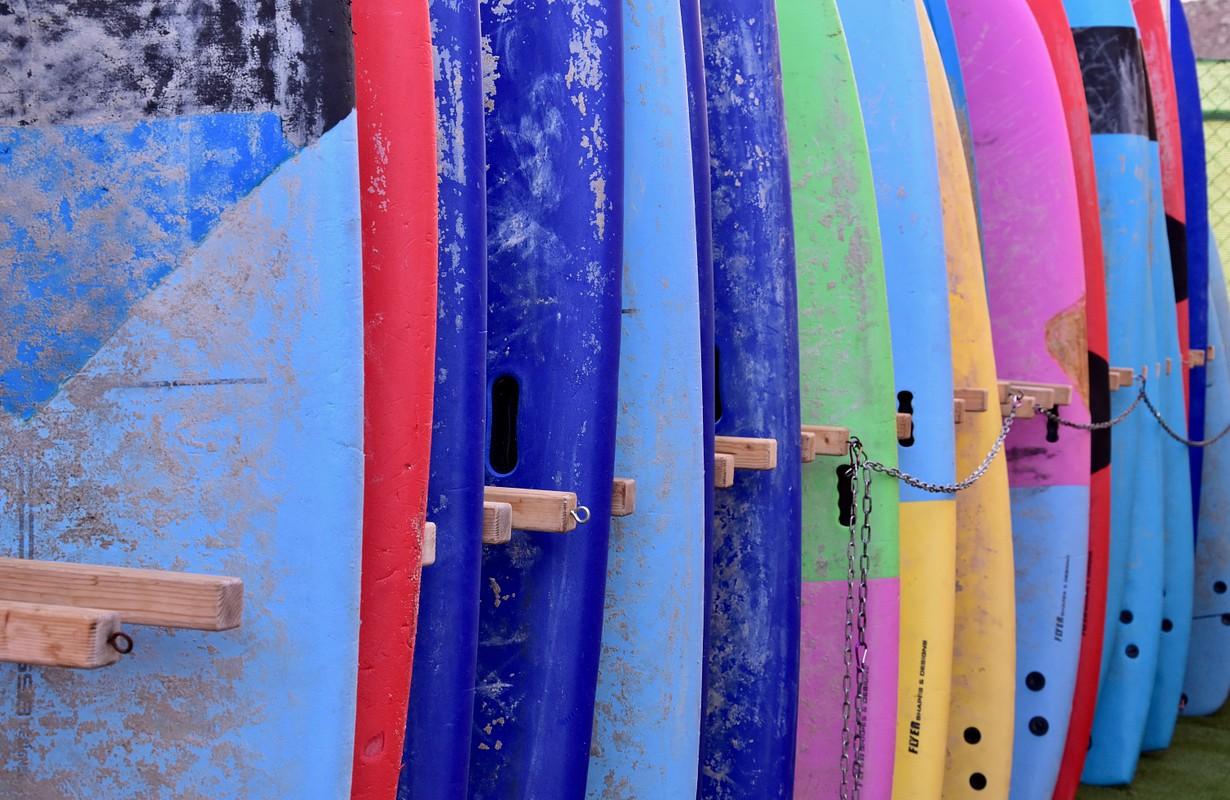 Surfboards at a San Diego beach, USA