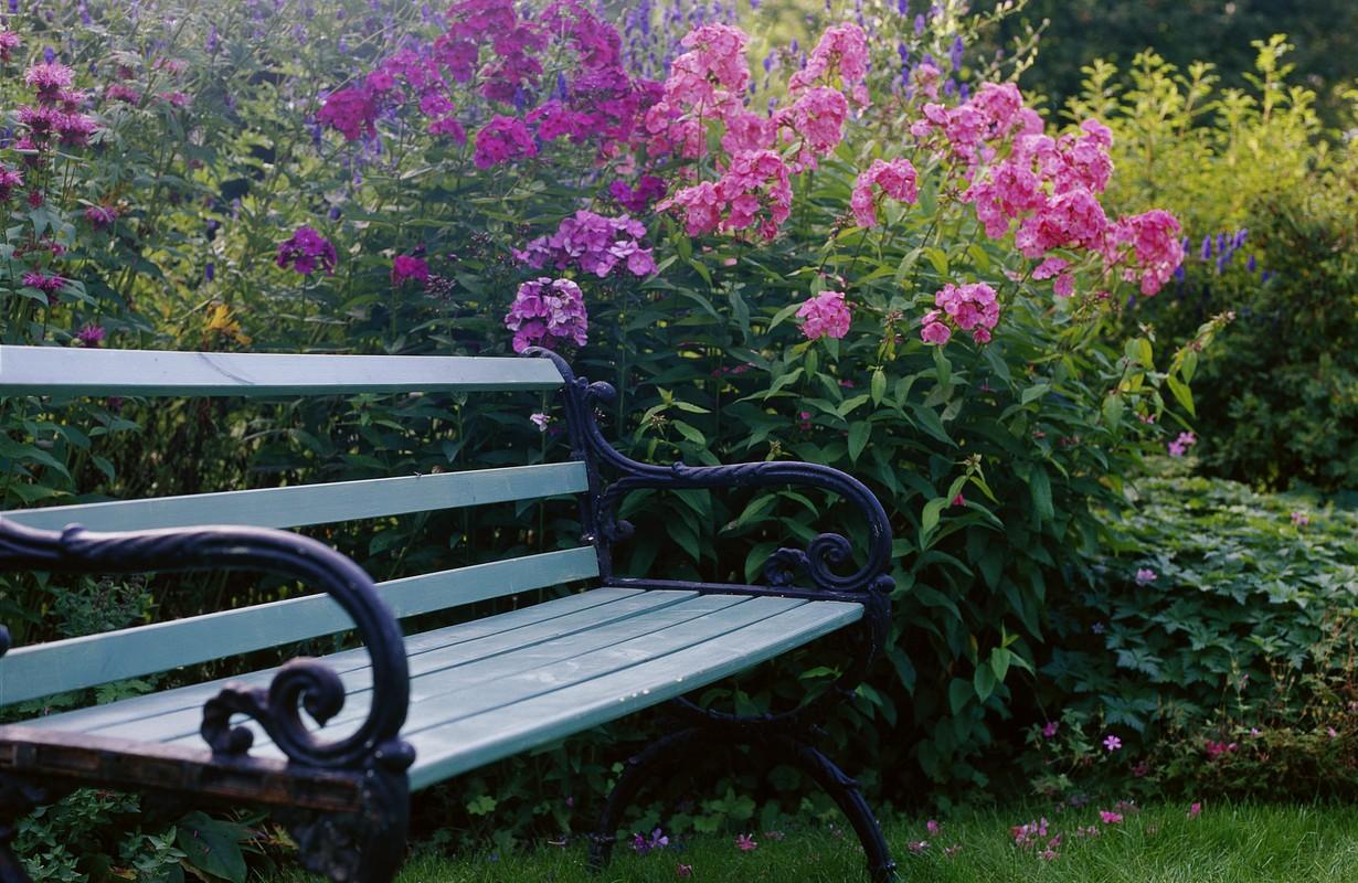 A bench in a garden, Sweden