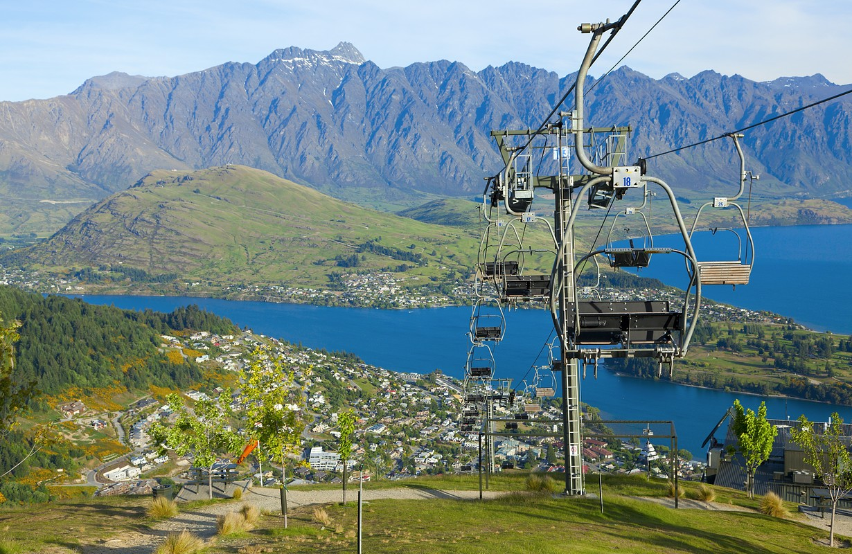 View of Queenstown and Lake Wakatipu from the Skyline Gondola