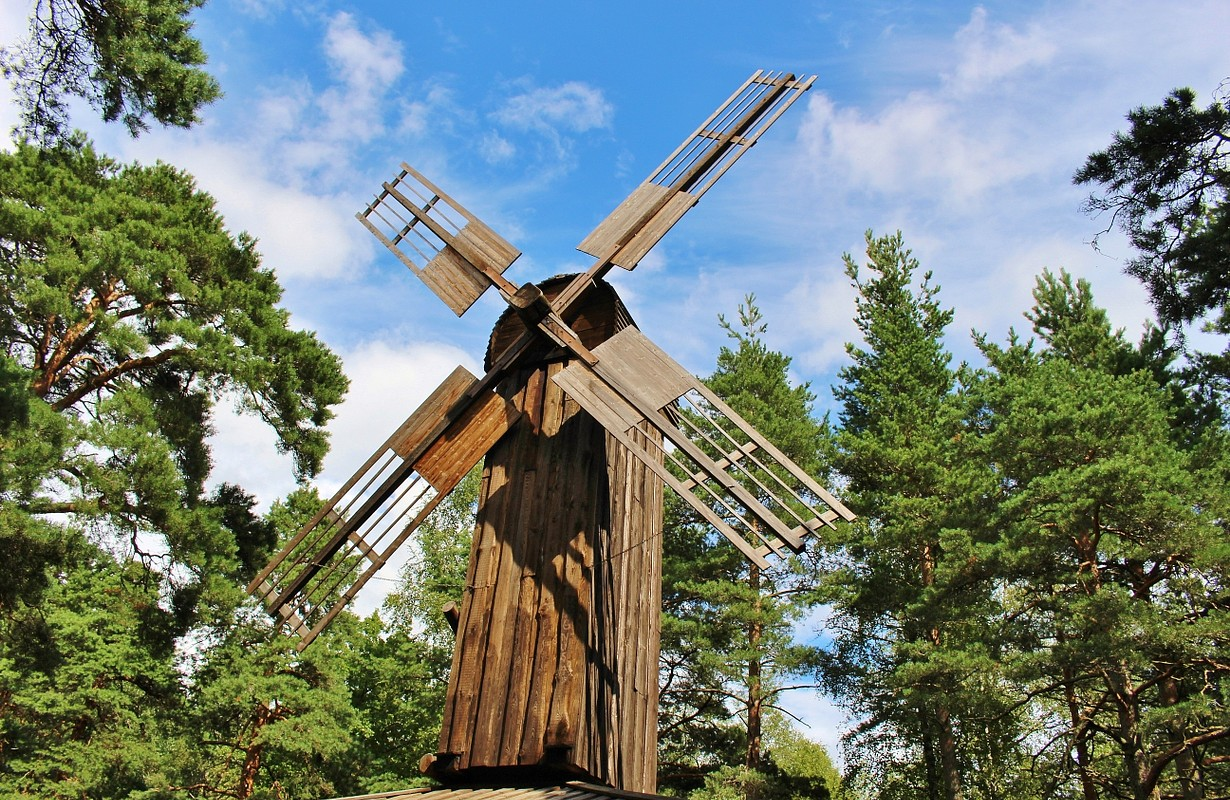 Old wooden windmill in Karlstad, Sweden. It is located in the leisure park Leklandet on the hill Marieberg. Scandinavia