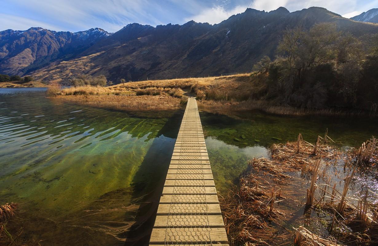 bridge at Moke Lake, Queenstown, New Zealand