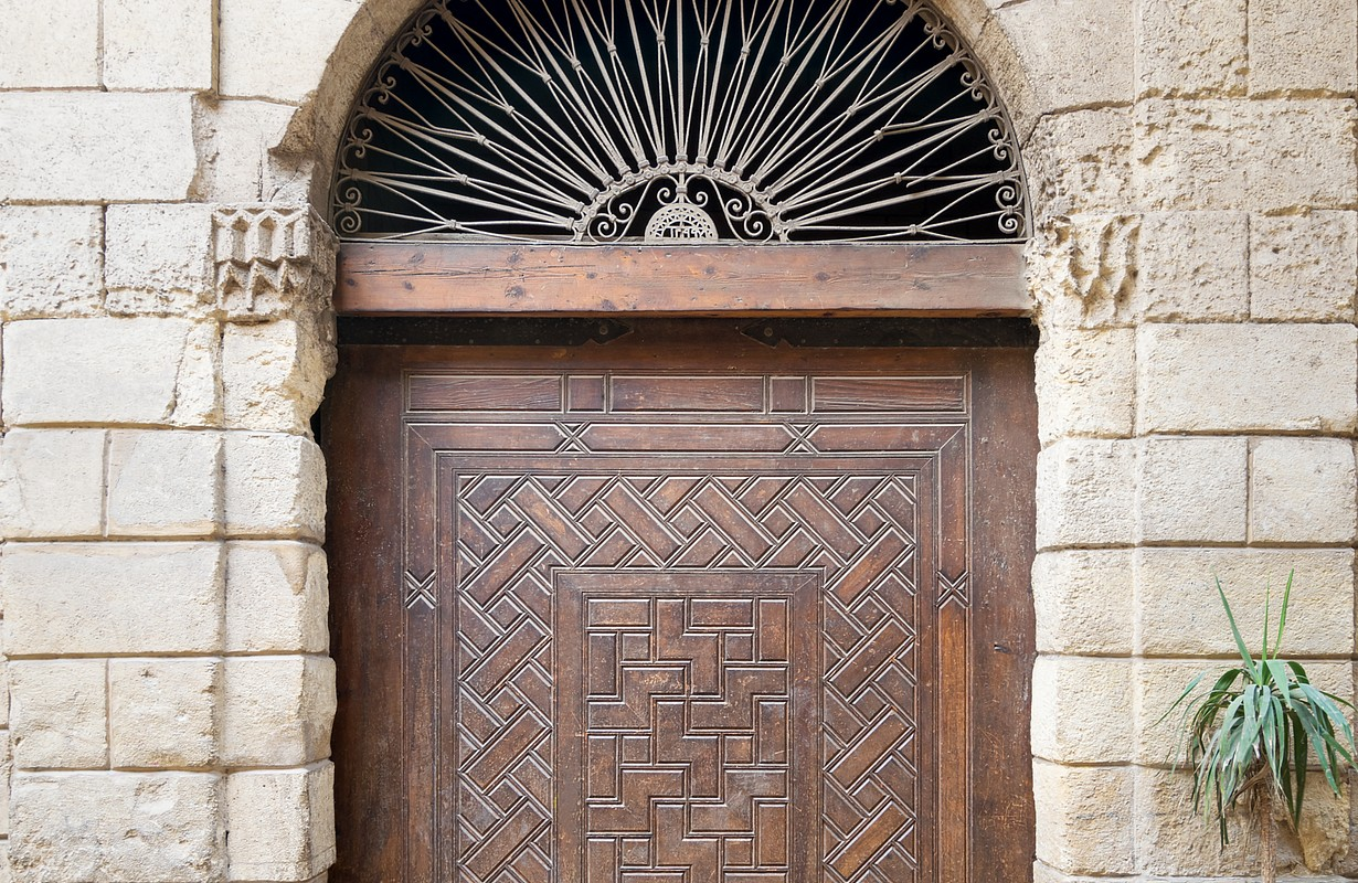 Door leading to Bayt Al-Suhaymi, an old Ottoman era house in Cairo, Egypt, built in 1648 along the Darb al-Asfar, a very prestigious and expensive part of Medieval Cairo
