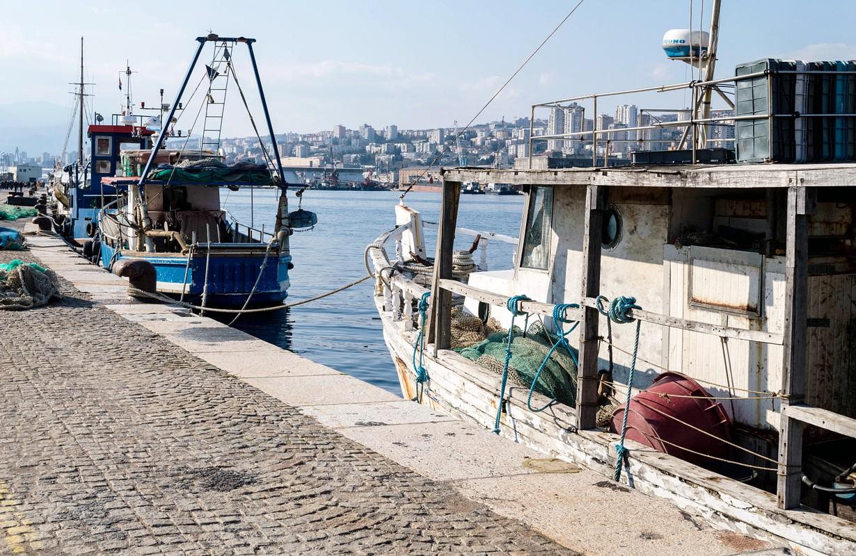 Molo Longo and fishing ships in port of Rijeka
