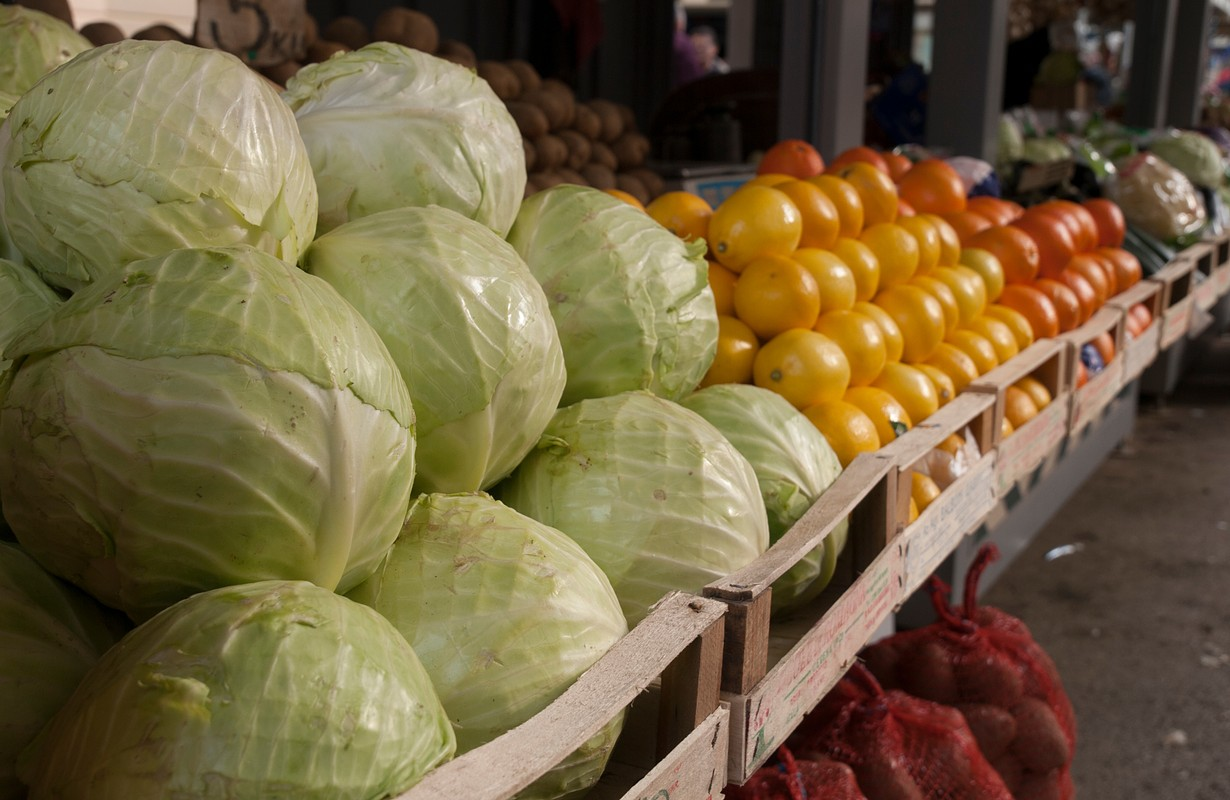 Fruit and vegetables sold at the market in Rijeka