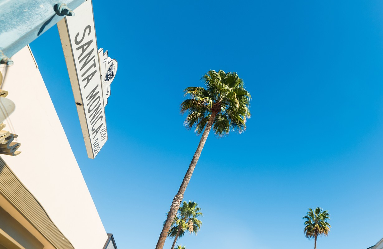 Santa Monica boulevard sign in Beverly Hills, California