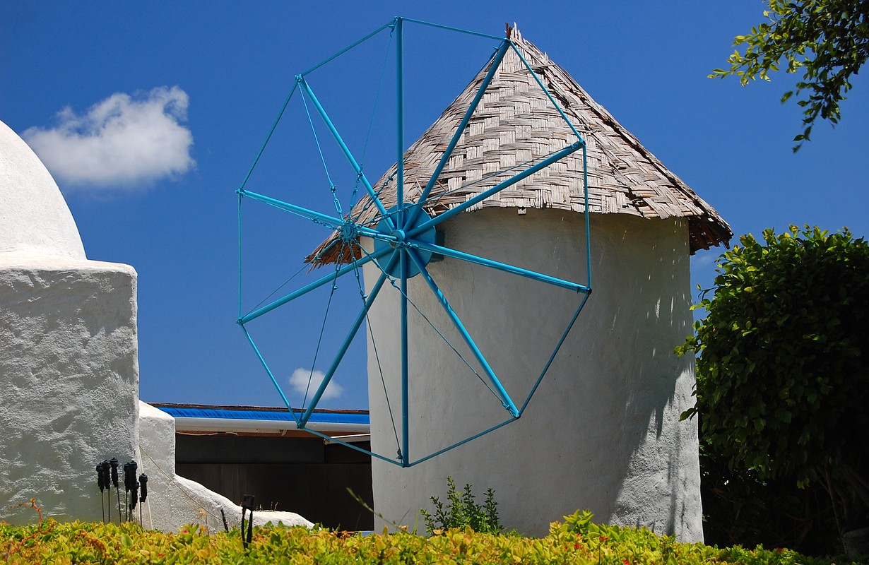 Windmill in town of Protaras on Cyprus island