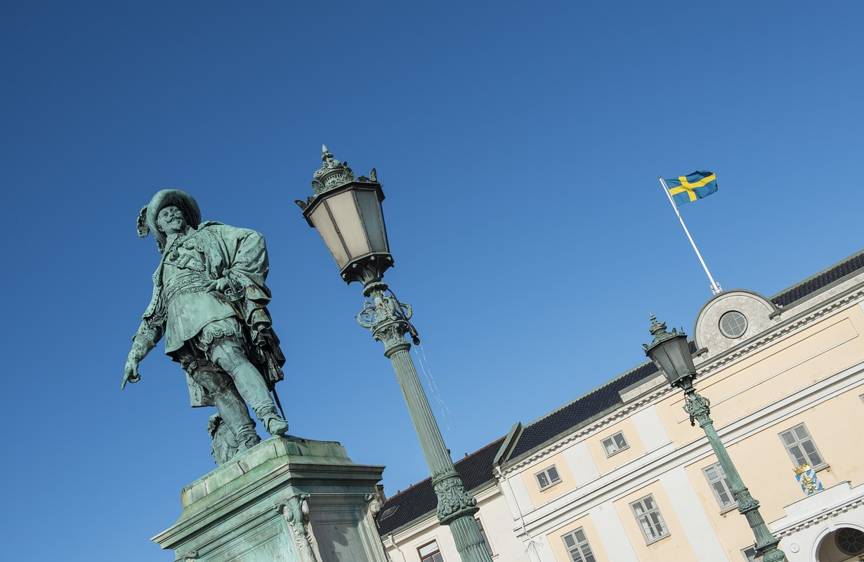 This statue, showing King Gustav Adolf II, is positioned in the centre of Gothenburg, Sweden.