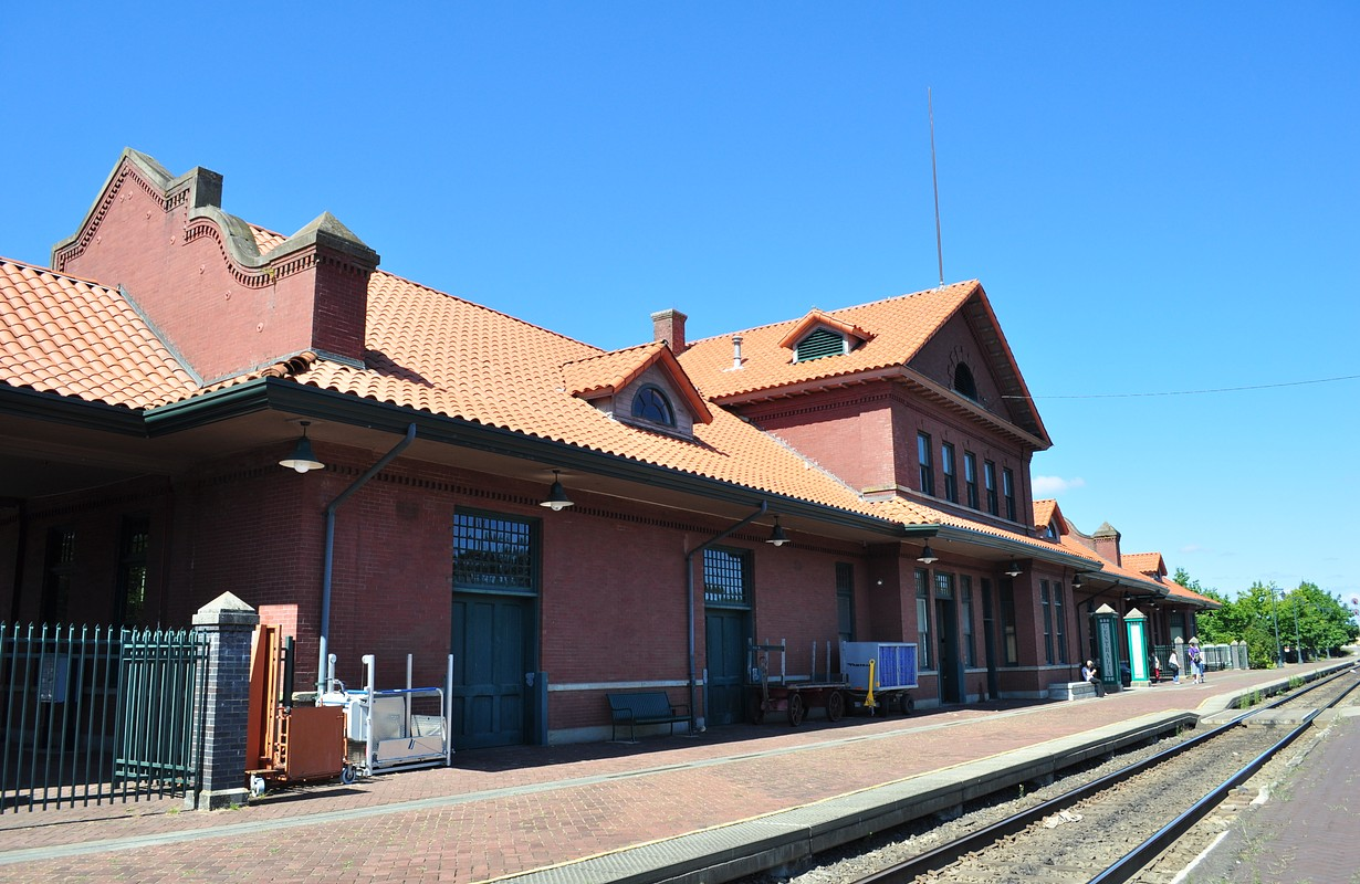 Platform, Centralia Union Depot, 210 Railroad Avenue, Centralia, Washington. Listed on the National Register of Historic Places.