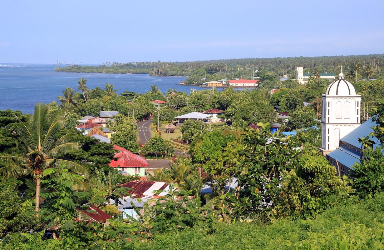 Town on the coast of Upolu island, Samoa