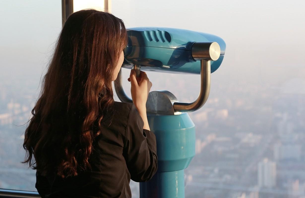 Girl on observation deck