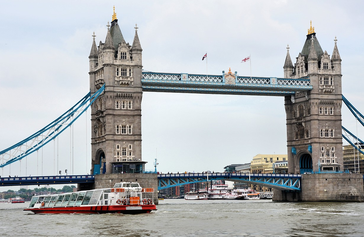 Cruise boats on river Thames