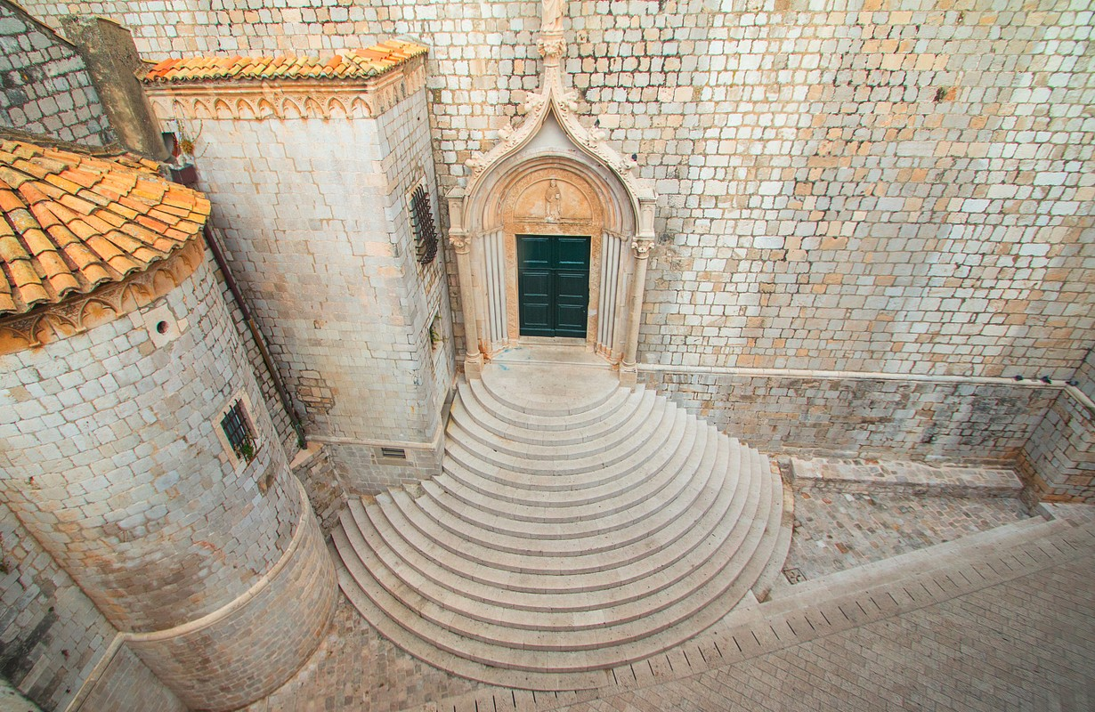 Stairs of Dominican Monastery in old town Dubrovnik in Croatia