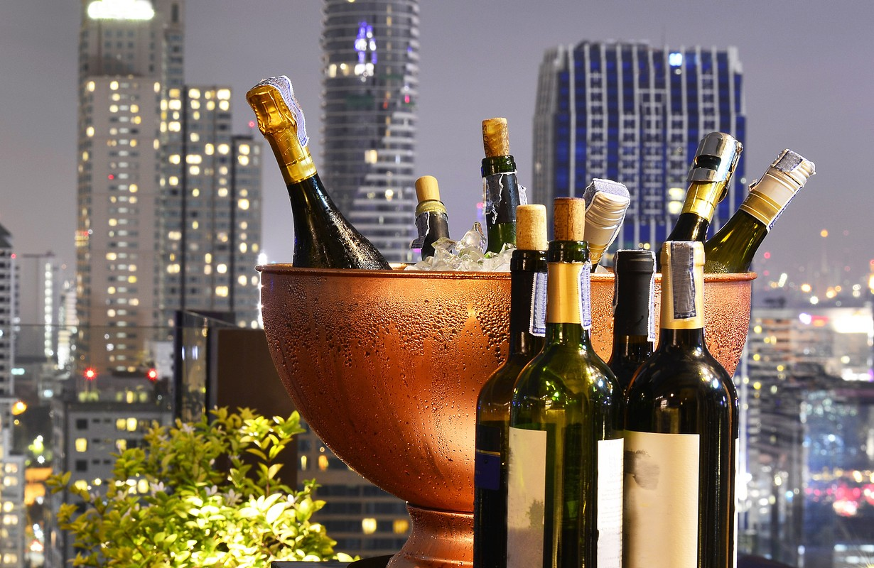 Rooftop bar with champagne