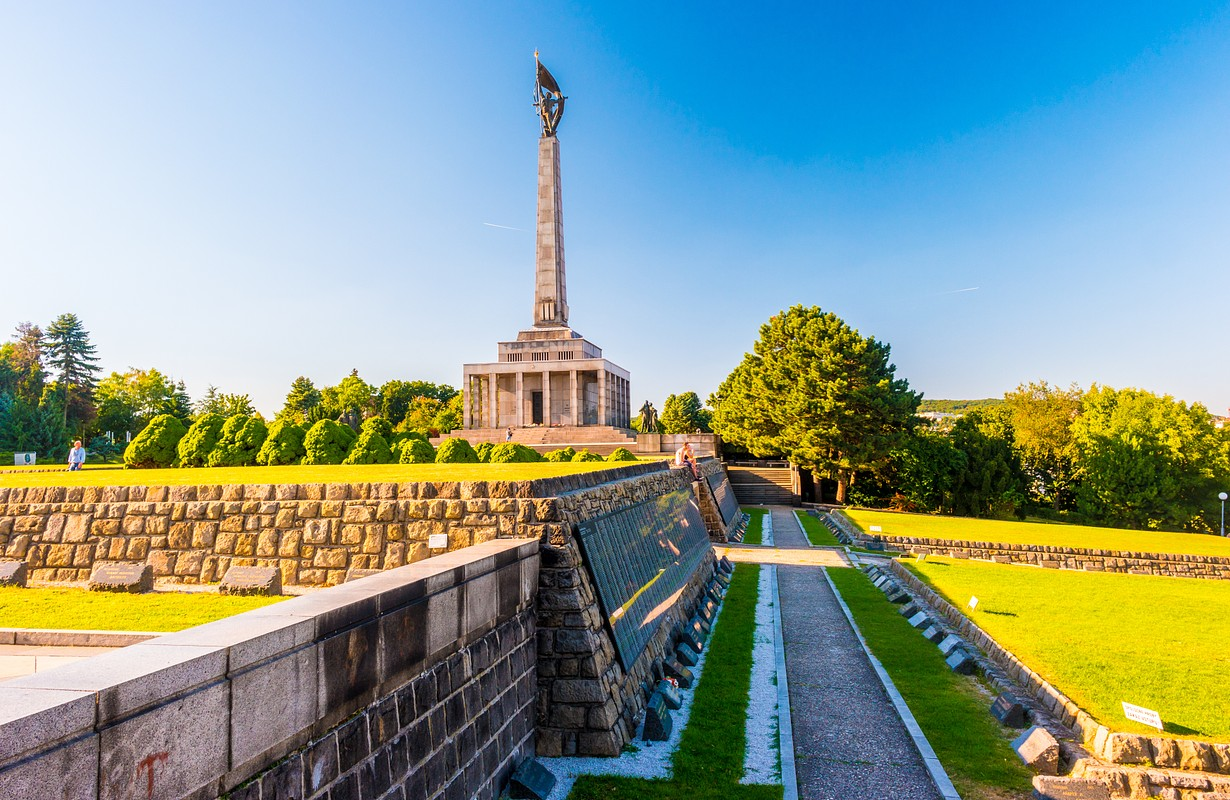 Slavin - memorial monument and cemetery for Soviet Army soldiers in Bratislava, Slovakia. With beautiful summer sunset light