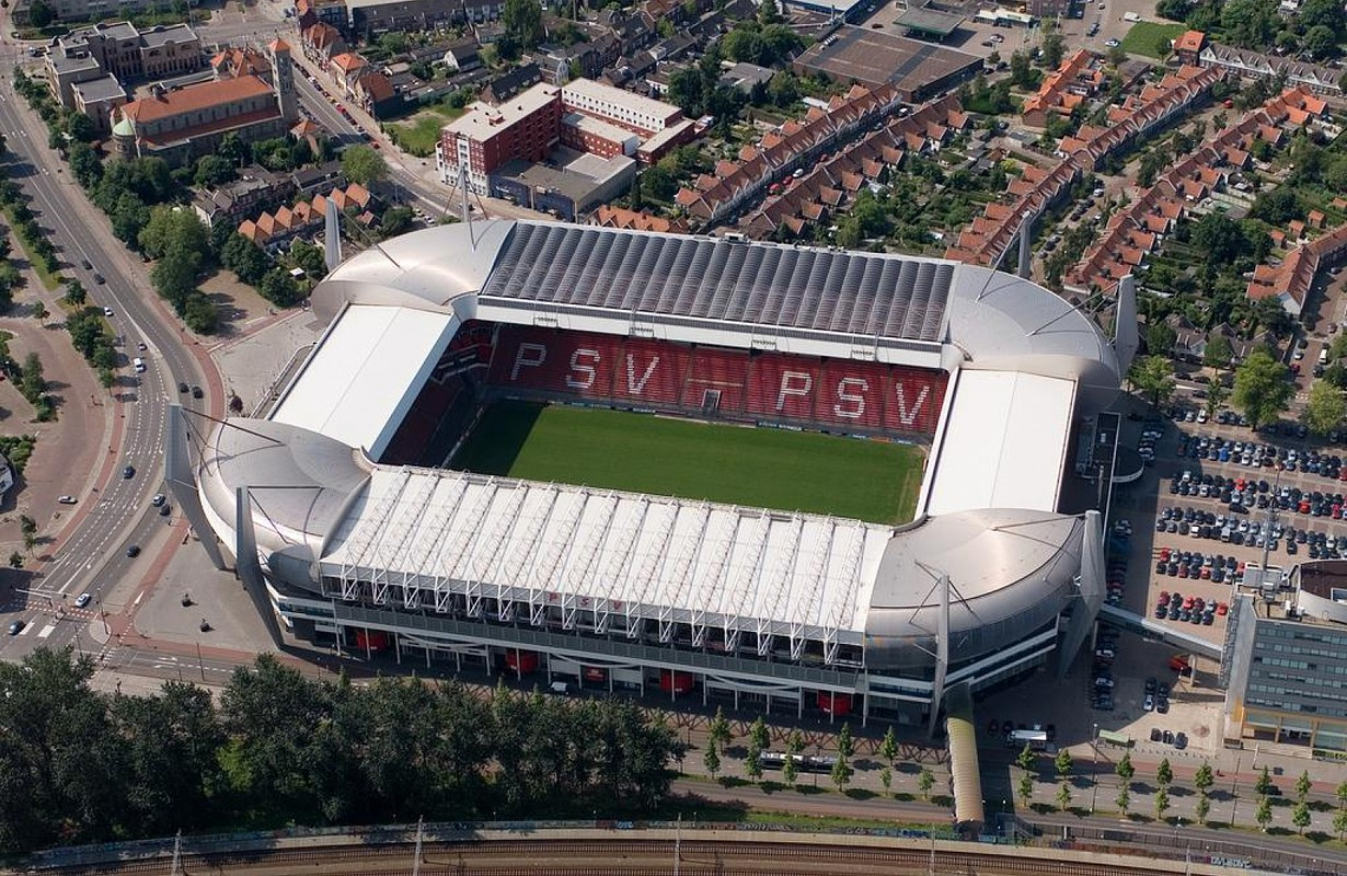 Aerial photograph of PSV's Philips Stadium, Eindhoven, Netherlands