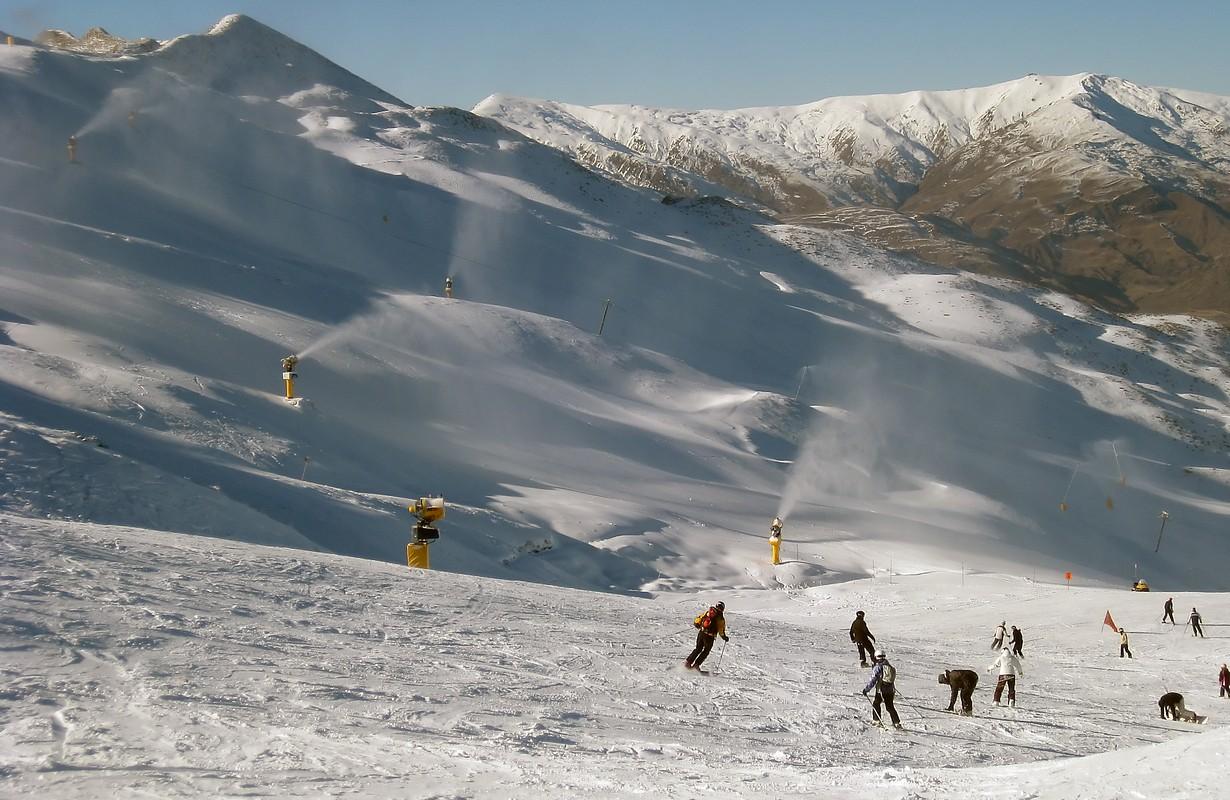 Skiers on New Zealand's Coronet Peak in Queenstown