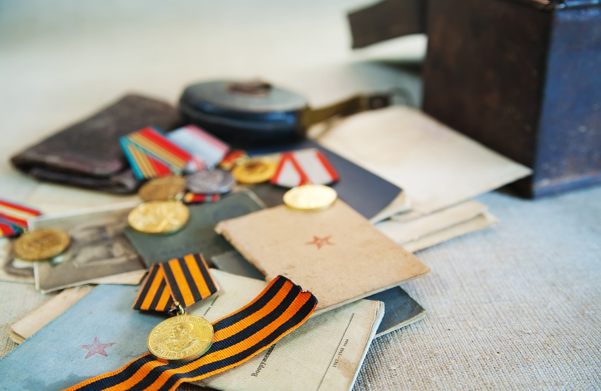 Old army documents and Soviet military medals of World War II