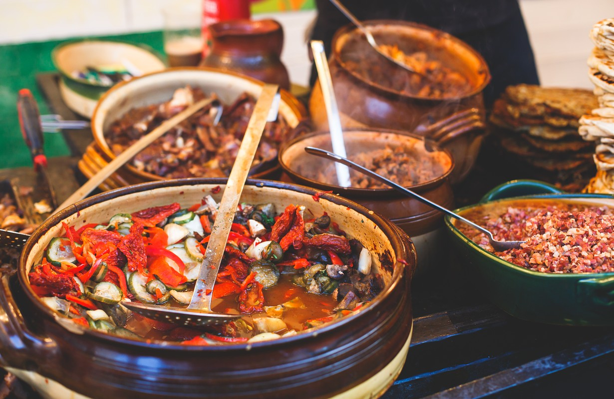 traditional food at downtown market