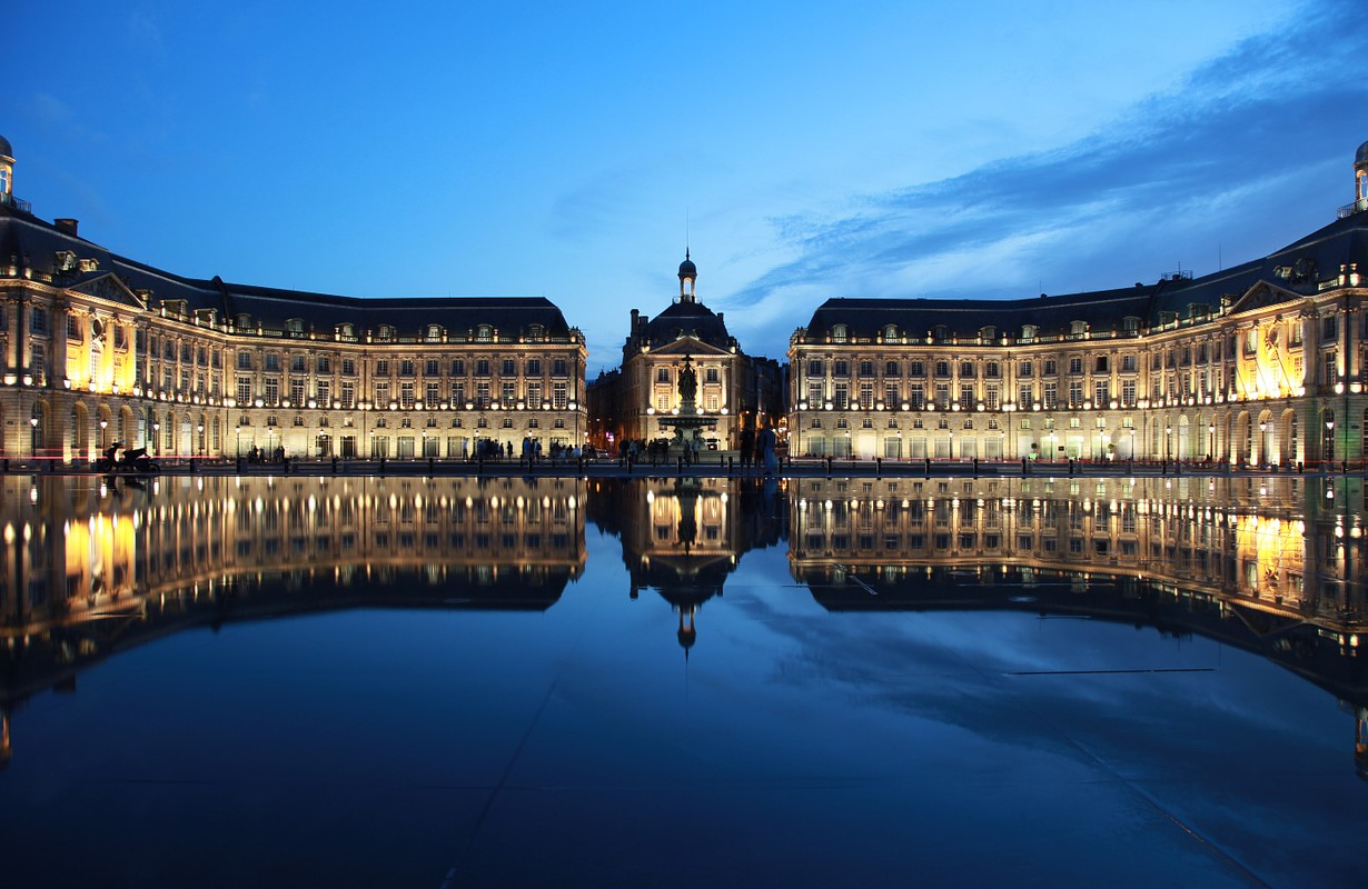 "The ""Place de la Bourse"" in Bordeaux was designed by the royal architect Jacques Ange Gabriel in 1775"