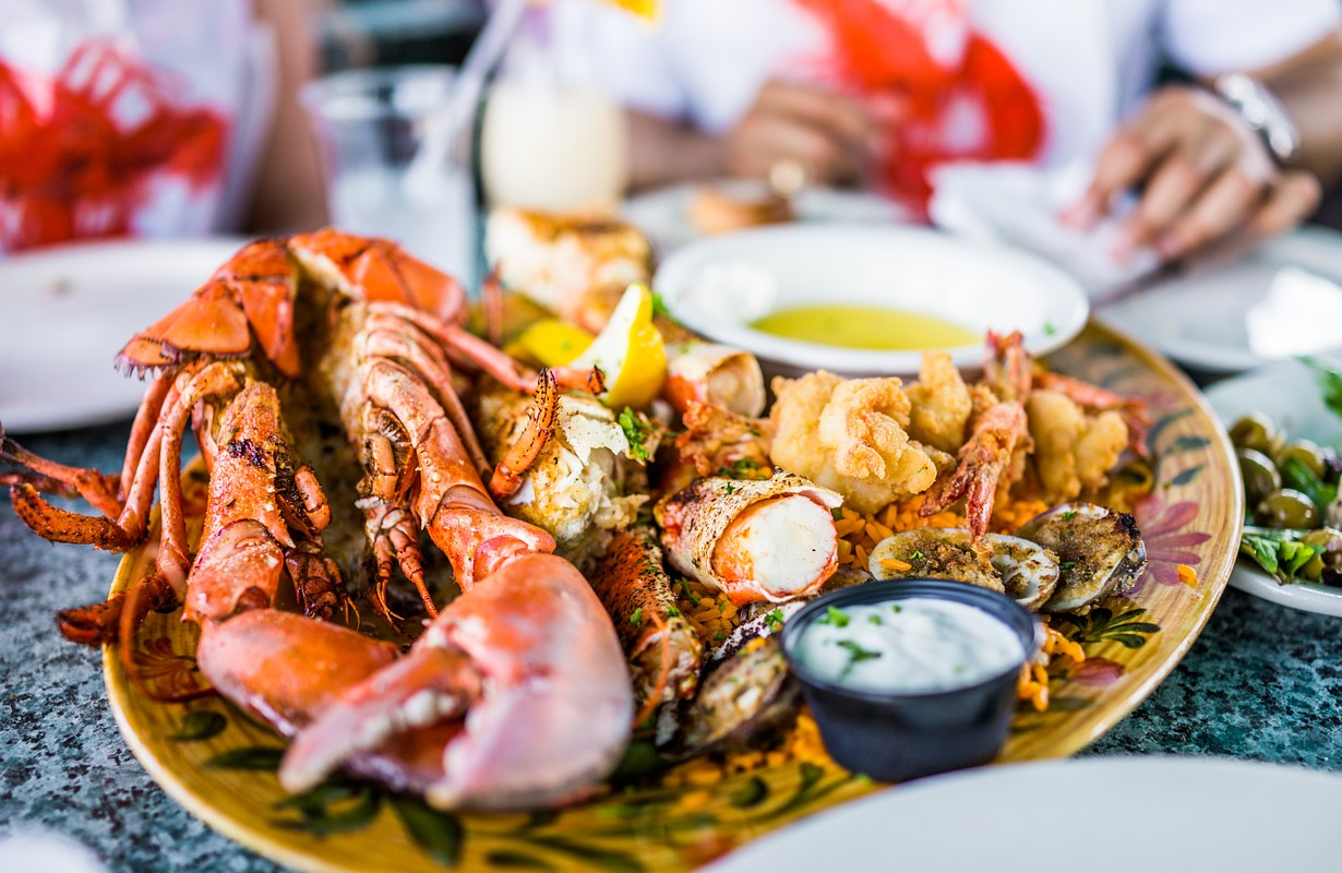 Lobster and other seafood on a platter
