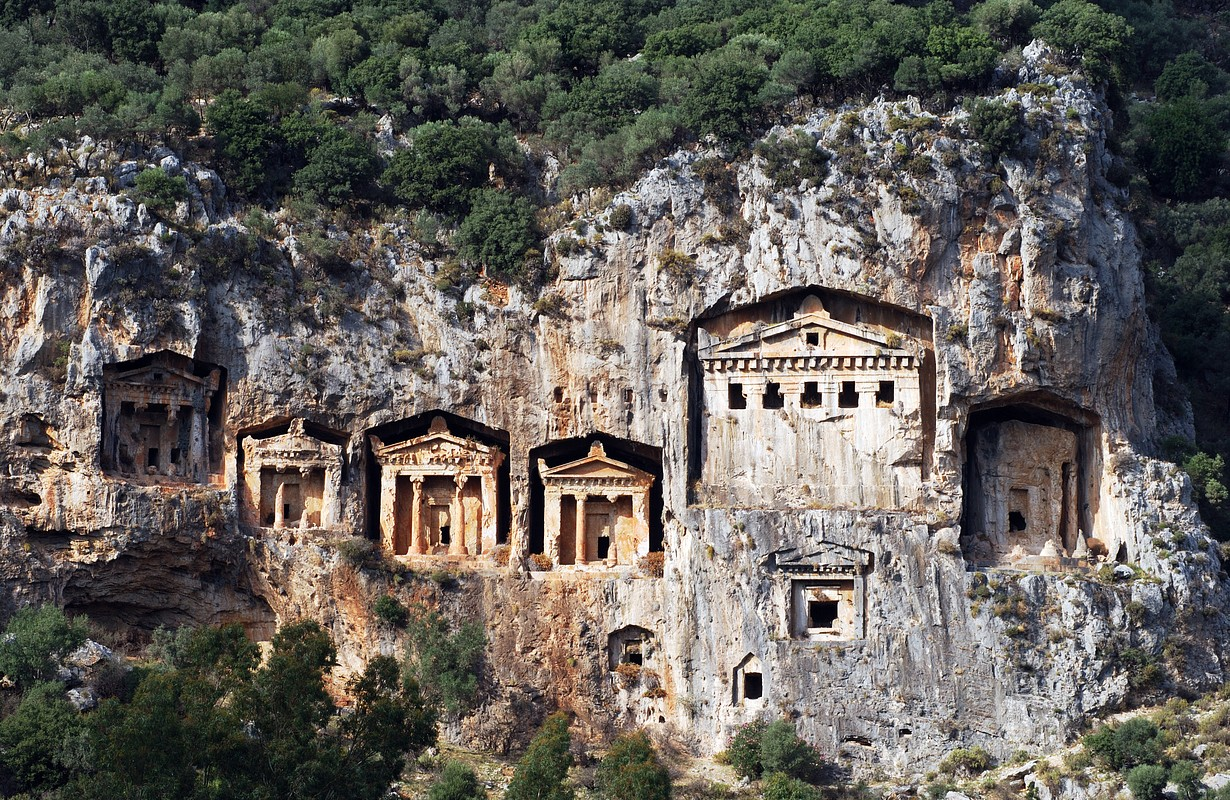 Tombs of Kaunos ancient city, Turkey.
