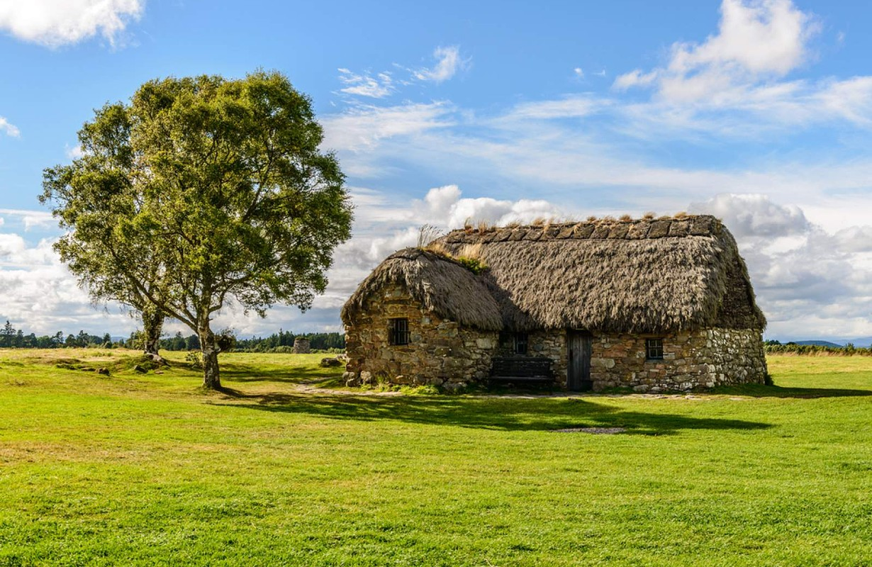 traditional house in the Culloden Battlefield in the Highlands, Scotland