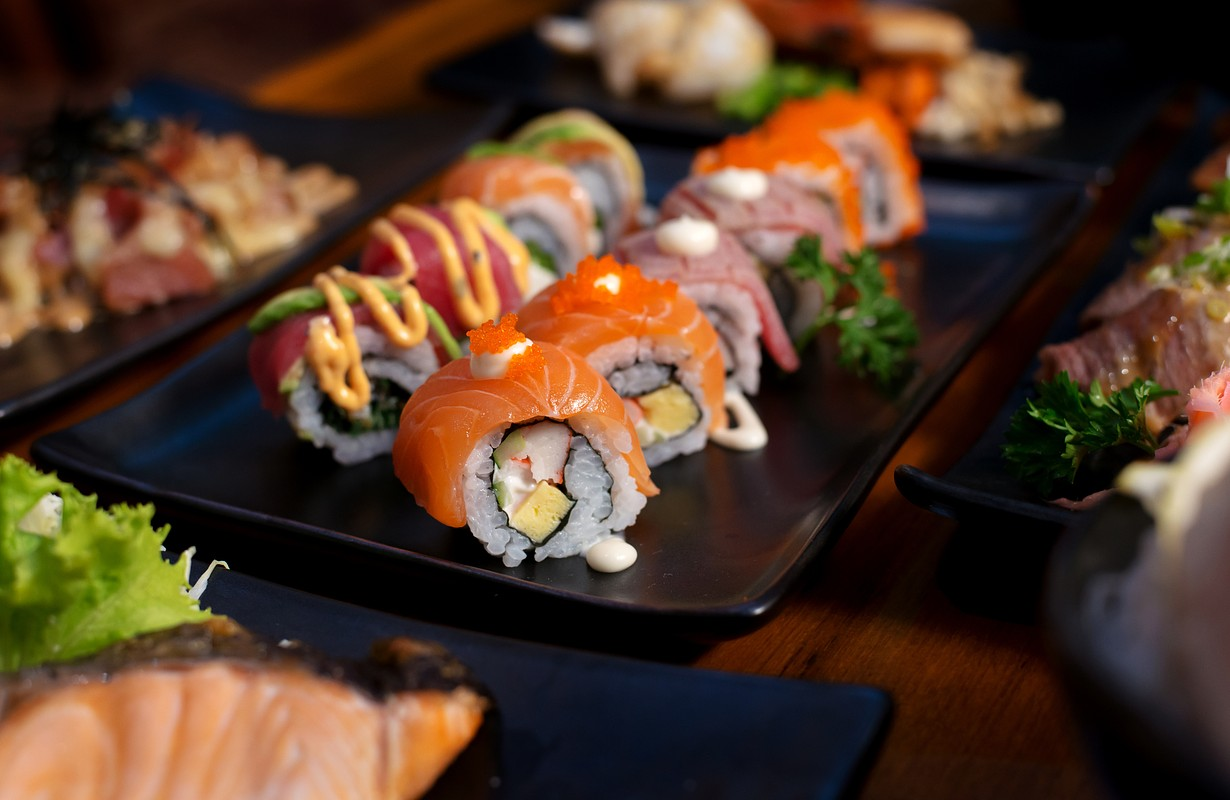 Salmon roll , Japanese favorite food sushi maki - Image