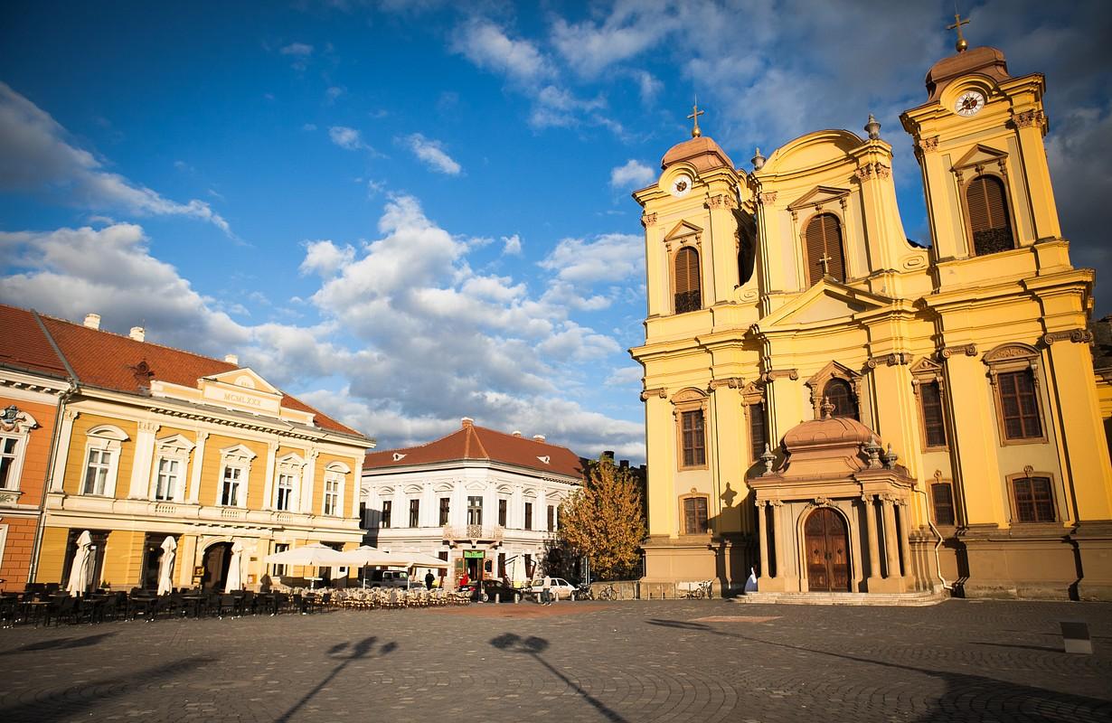 Roman Catholic Cathedral of Saint George Unirii, Union, Square at sunset in Timisoara, Romania