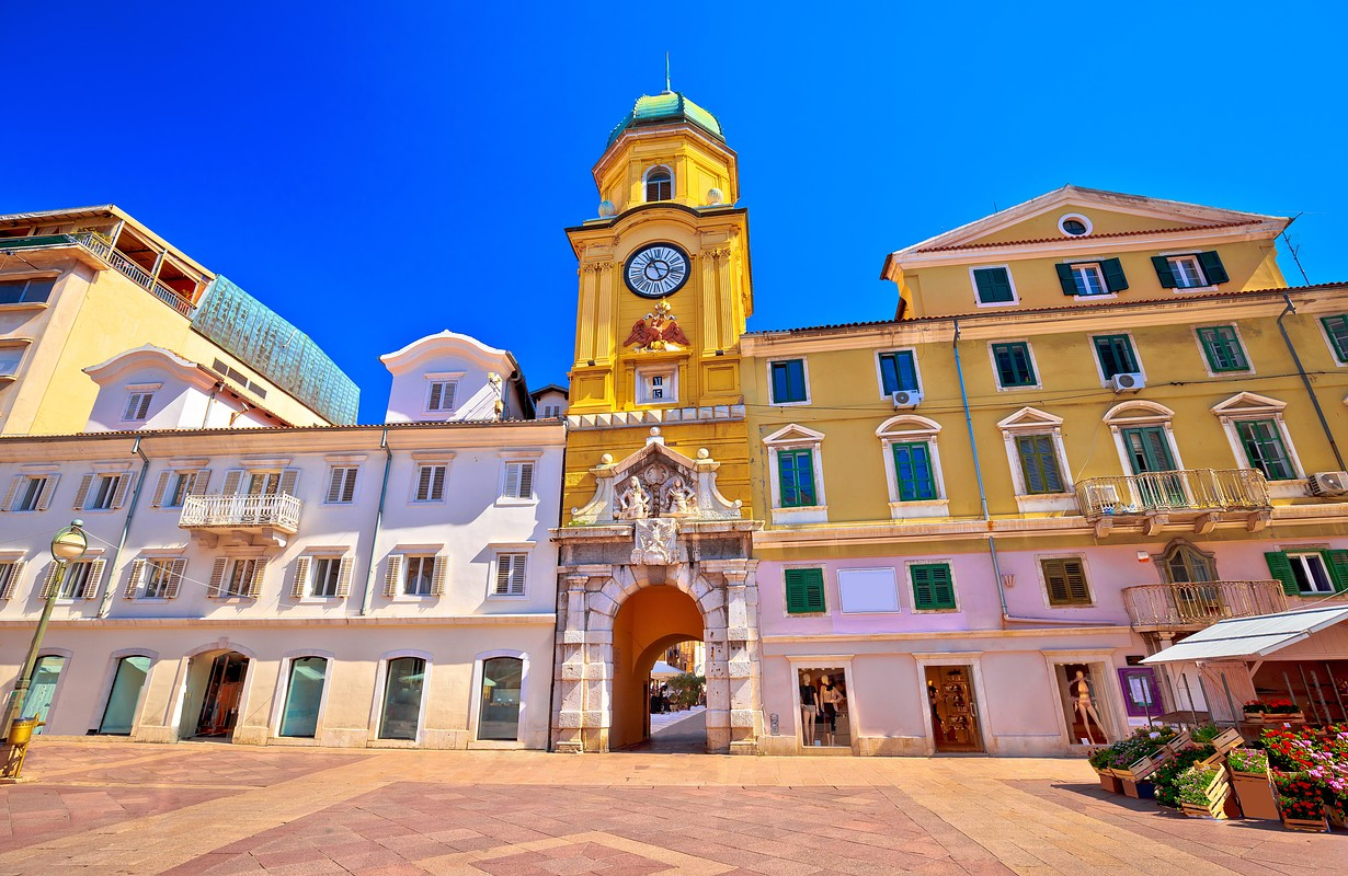 City of Rijeka main square and clock tower view, Kvarner bay, Croatia