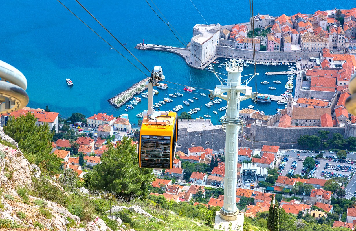 Cable car in Dubrovnik in a beautiful summer day, Croatia